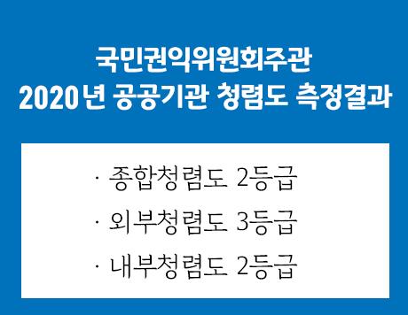 국민권익위원회주관 2020년 공공기관 청렴도 측정결과 종합청렴도 2등급 외부청렴도 3등급 내부청렴도 2등급